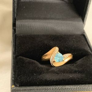 Gold and Aquamarine ring-size 6